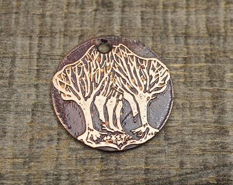 Copper forest charm, round flat etched metal tree focal point, 25mm