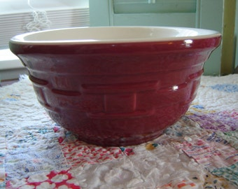 Longaberger Bowl Paprika Red small mixing bowl basket weave bowl 7 inch serving kitchen collectible pottery gift idea