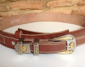 Vintage french leather belt with metal buckle