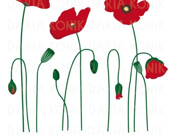 Poppies Clip Art Set-flower clipart, botanical, floral clipart, eps, png, jpeg, instant download