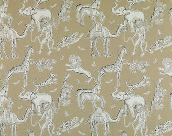 Elephants Jungle - Langdon Fabric - Tobi Fairley for Duralee - Jute Colorway - Large Remnant