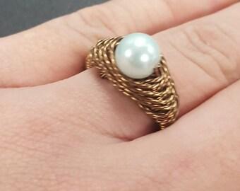 Glass Pearl Herringbone Wire Wrapped Ring