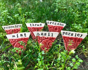 Ceramic Herb Markers/Garden Markers (Set of 6) - Handmade Pottery/Ceramics