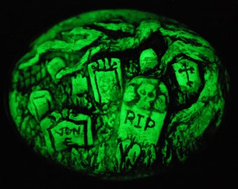 Gothic Cameo Necklace  - Glow in the dark  - Creepy Old  Victorian Cemetery Cameo Necklace with Tombstones