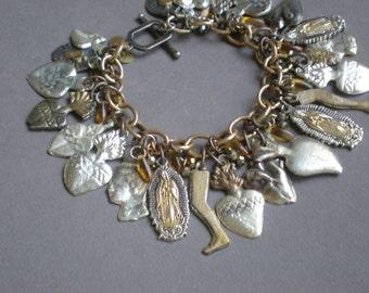 Virgin of Guadalupe Blessing Bracelet. Milagro Heart Charms. GIFT. Mother Daughter, Bridal Shower gift. Prosperity Abundance Health Blessing