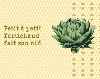 "Postcard artichoke (""proverbs disguise"") card / funny artichoke card"