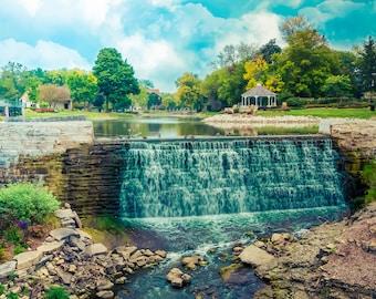 Waterfall Photography, waterfall art, Waterfall Decor, Waterfall Scenery, Large Wall Art Print, Menomonee Falls, Wisconsin, Lime Kiln Park