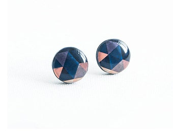 Geometric stud earrings nickel free earrings studs dark blue stud earrings ohrstecker modern jewelry handmade studs everyday wear