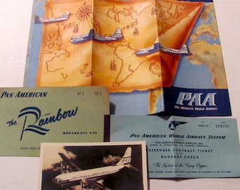 Vintage Pan American Route Map and 33-A PAA Stratocruiser Postcard