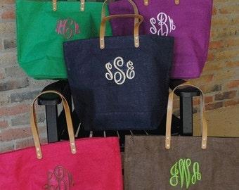 Monogrammed Jute Tote | Burlap Bag | Bridesmaid Tote | Monogram Tote Bag