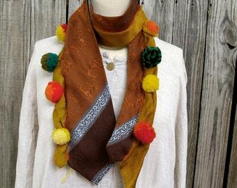 Pom Pom Upcycled Necktie Scarf- Vintage Silk, Egyptian Camels, Tie #9
