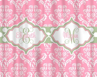 Custom Personalized Damask Shower Curtain - Shown in Pink White and Sage Accent