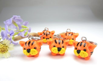 Cute Tigers Stitch Markers (Set of 5) tiger charms knitting accessories animal gift for her knitters cute kawaii polymer clay orange stripes