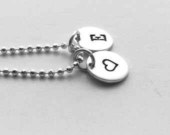 Initial Necklace with Heart Charm, Sterling Silver, Personalized Jewelry, All Letters Avail., Heart Necklace, Letter E Necklace, Handstamped
