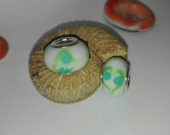 Set of 17! Glass beads white, blue, green patterns and silver, 14 * 10mm