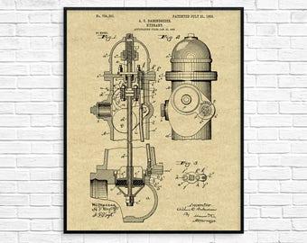 Fire Hydrant Patent Print, Firetruck, Fireman Decor, Fire Fighter Gift, Fire, Fire Hydrant Art, Fire Hydrant Decor, Fire Hydrant Poster