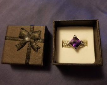 Vintage Amethyst Sterling Silver Ring (Size 6)