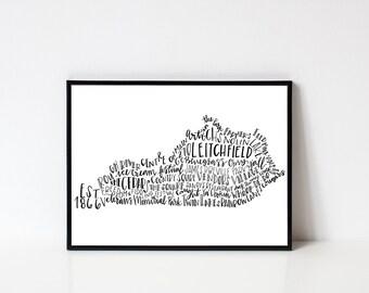 Hand lettered LEITCHFIELD Kentucky Word Art Print // 8x10