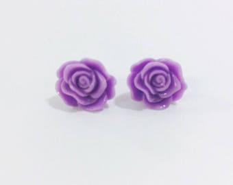 Adorable purple rose stud earrings
