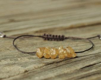 Raw Citrine Nugget Yoga Bracelet, Solar Plexus Chakra, 3rd Chakra, Gemstone Therapy, Crystal Healing,  Meditation Bracelet, Reiki Healing