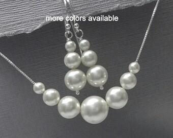 Bridesmaid Gift, Swarovski White Pearl Bridal Jewelry Set, Bridesmaid Jewelry Set, Bridesmaid Gift, Bridesmaid Gift Set