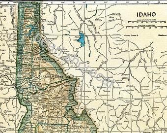 1949 Idaho Map State Map - PDF Digital Download
