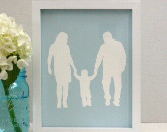 Custom Family Portrait Silhouette Print -  with 3 figures - made from your photo - family portrait