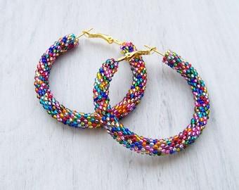 Beaded colorful hoop mosaic earrings - Beadwork - beaded jewelry - seed beads earrings - multi color earrings