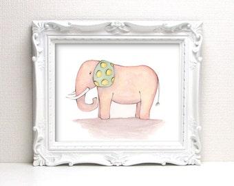 Giclee Art Print - Happy Elephant Watercolor - Animal Painting Print - Original Art by Angela Weber