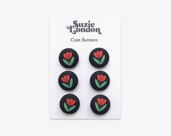 Folky Dokey Tulip Coat Buttons in Red
