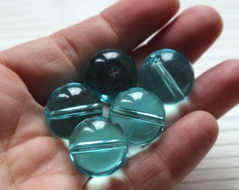 Large 18mm aqua blue glass round beads