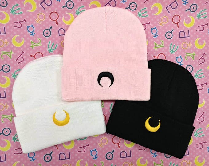 Featured listing image: Sailor Moon Luna / Artemis / Black Lady Beanie