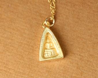 Gold buddha necklace - yoga necklace - meditation necklace - zen - a gold vermeil thai buddha on a 14k gold vermeil chain