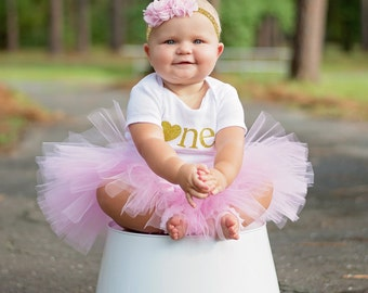 1st Birthday Outfit Girl...Pink and Gold Tutu and Bodysuit Set...Pink and Gold First Birthday Outfit...Baby Girl 1st Birthday Outfit...Gold