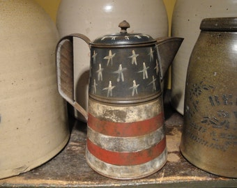 Primitive Americana Vintage Tin Coffee Pot Handpainted | Old Glory Antique Tin Coffee Pot