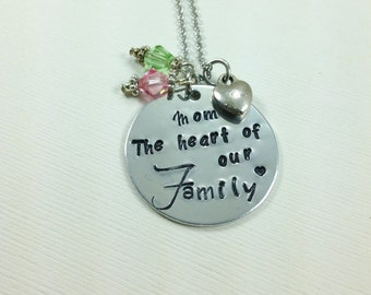 Mother's Day gift - Mother's Day keepsake - Mom The heart of our family- mom necklace - heart charm - Swarovski birthstones- mom jewelry