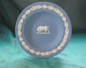 Wedgwood Taurus Dish Blue Jasperware Zodiac Series