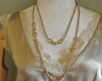 Vintage opera length long necklace gold tone