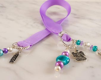 Lavender and Teal  Beaded Bookmark with Angel Charm