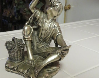 Beautiful Vintage Pewter Boy Eating Grapes Figurine