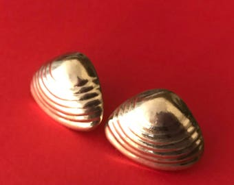 Taxco Mexico Vintage Sterling Silver Large Elegant Clam Shell Shaped Pierced Earrings