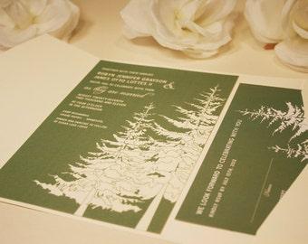 SAMPLE In The Trees Wedding Pocketfold Invitation, Douglas Fir Trees, Green and Cream, Mt Hood, Birds, Black, Outdoor, Rustic and Modern
