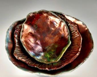 Raku Rainbow nesting bowls, Copper and White crackle, Organic shape pottery bowls. Fine Art raku pottery bowl. Live edge