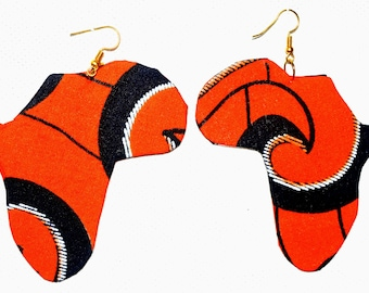 Africa shape earrings in African print fabric