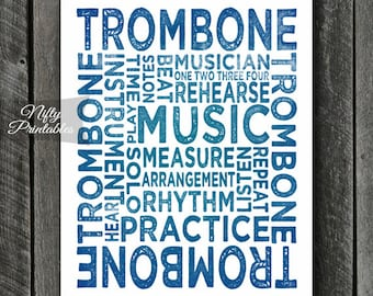 Trombone Art - INSTANT DOWNLOAD Trombone Print - Trombone Player - Trombone Poster - Trombone Gifts - Music Gifts - Trombone Wall Art
