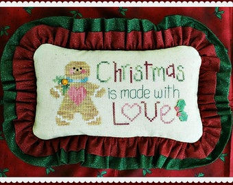 MADE With LOVE; Pattern for Cross Stitch; Instant PDF Download; Quick and Easy Christmas Gingerbread Man