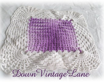 Vintage Square Lavendar Doily Crocheted Doily 8 Inches Square