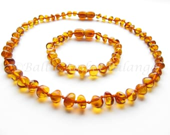 Baltic Amber Teething Necklace and Bracelet/Anklet Set, Rounded Cognac Color Beads