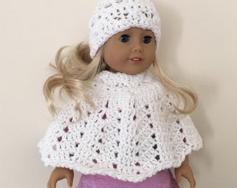 White 18 inch doll hat & poncho set (will fit American girl doll), doll clothes, doll hat, doll poncho, American Girl, Gotz Precious Day