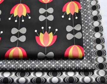 Fabric Bundle, Nordica by Jeni Baker, Art Gallery Fabrics, Orange and Yellow, Flowers, Black,  Gray,  Cotton Yardage, Fat Quarter, Half Yard